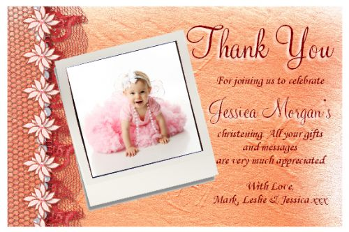 10 Personalised Thank you PHOTO Cards N105.